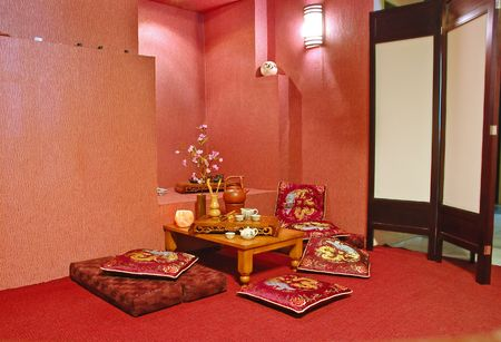 Interior of japanese or chinese restaurant in red tone photo
