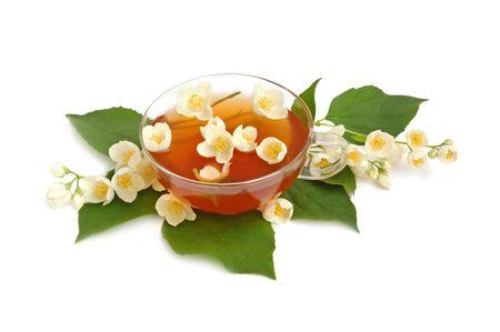 jessamine: Gelsomino tè verde con fiori di gelsomino fresco.  Archivio Fotografico