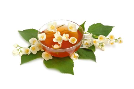 Green jasmine tea with fresh jasmine flowers. Stock Photo - 3237792