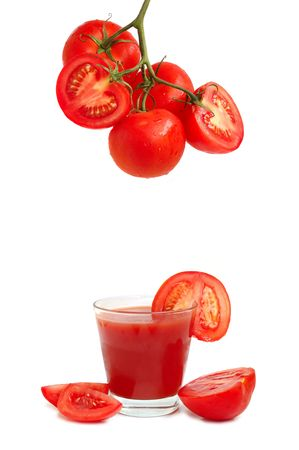 Fresh tomatoes and a glass full of tomato juice. Or bloody ceasar or mary cocktail. Stock Photo - 3307912
