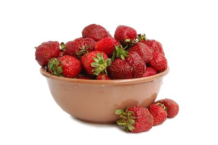Ripe red strawberries in ceramic bowl Stock Photo - 3280572