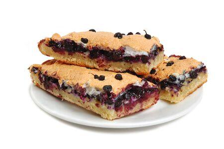 bilberries: Baked pie with bilberries filling on plate