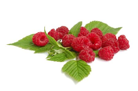 Heap of red raspberries with green leaves on white background Stock Photo - 3407562