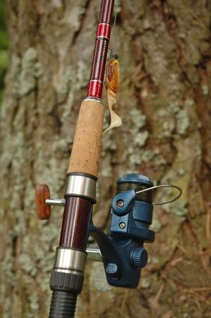 Spinning rod and reel with yellow and orange lure on a bark pine-tree background  photo