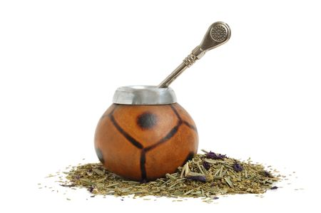 �up from calabash and straw with dry mate leaves - traditional drink of Argentina. Stock Photo - 3442358