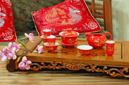 Table for tea ceremony in japanese or chinese restaurant. photo