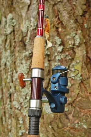 Spinning rod and reel with yellow and orange lure on a bark pine-tree  photo
