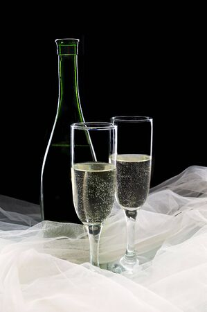 Champagne against a black background Stock Photo - 3979846