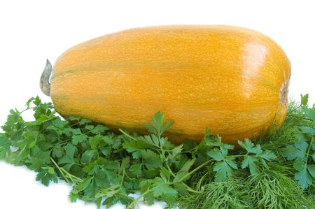 Yellow summer squash and greens on white background Stock Photo - 3979882