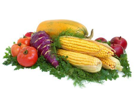 Yellow squash, tomatos, kohlrabi, corn, apples and greens on white background Stock Photo - 3979859