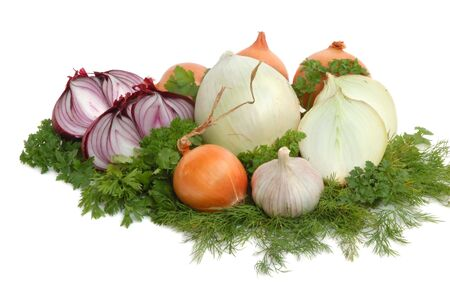 Bulbs of yellow, white, red onion, garlics and greens on white background photo