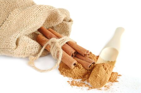 Cinnamon sticks in canvas sack on white background Stock Photo - 4270539