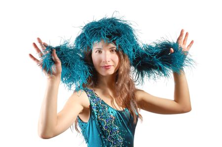 Beautiful woman with blue boa on a head on white background photo