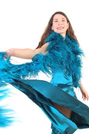 Ballroom dancer woman on white background photo