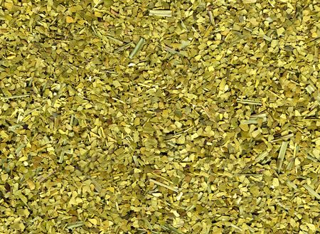 Mate: Dry yerba mate leaves, traditional drink of Argentina.