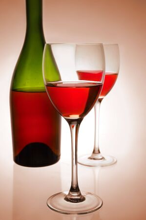 Red wine and green bottle Stock Photo - 4324520