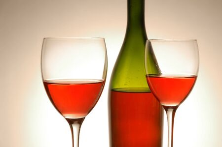 Red wine and green bottle Stock Photo - 4324514