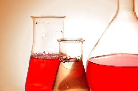 retort: Chemical retorts on glass table