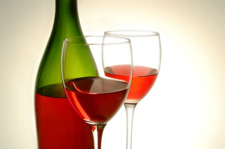 Red wine and green bottle on white background Stock Photo - 4493194