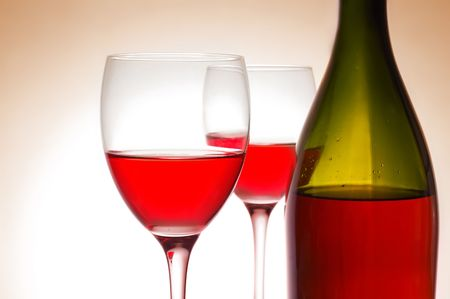 Red wine and green bottle Stock Photo - 4493193
