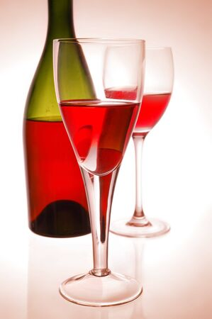Red wine and green bottle Stock Photo - 4493198