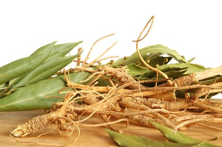 ginseng: A bunch of ginseng or parsley roots and fresh bay leaves on wooden background Stock Photo
