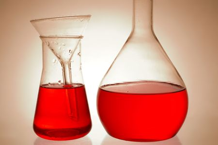 analytical chemistry: Chemical retorts on glass table