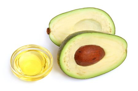 oil seed: Avocado and vegetable oil on white background