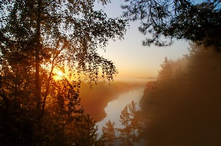 Early mist morning on the river photo