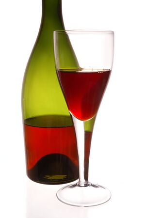 Red wine and green bottle on white background Stock Photo - 5403035
