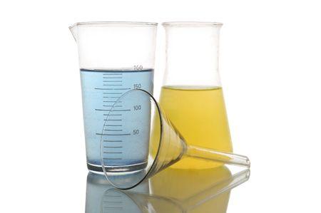 volumetric flask: Chemical retorts on on white background