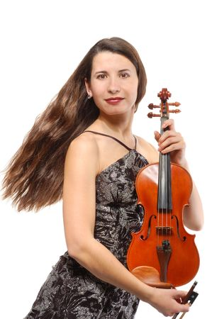 Beautiful violinist musician on white background Stock Photo - 6304428