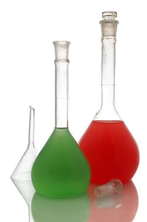 volumetric flask: Various color chemical retorts on on white background