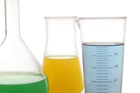 analytical chemistry: Various color chemical retorts on on white background