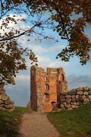 Ruin of medieval castle in Novogrudok, Belarus photo