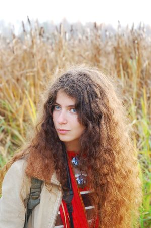 Portrait of beautiful hippie girl photo