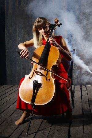 cellist: Beautiful cello musician on grey wall background
