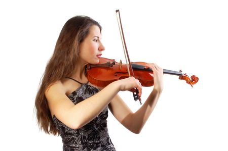 Beautiful violinist musician on white background photo