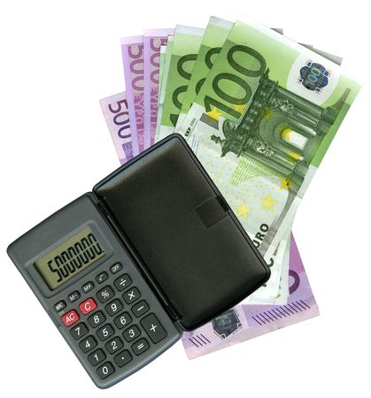 Calculator with Euro bank notes