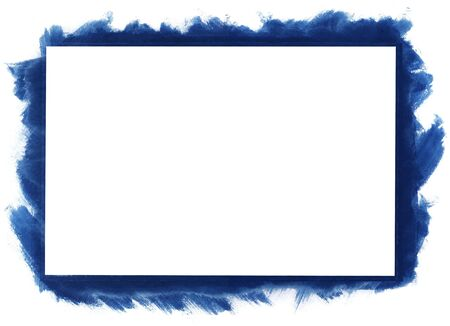 rectangle frame: Blue grunge abstract watercolour frame with space for your text or image. All elements painted by me. Stock Photo