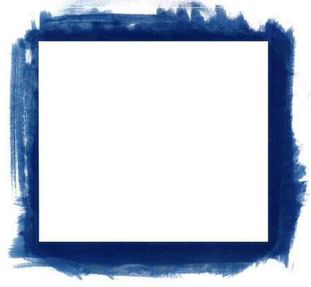 Blue grunge abstract watercolour frame with space for your text or image. All elements painted by me. Imagens