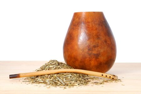 mate drink: up from calabash and straw with dry mate leaves - traditional drink of Argentina.