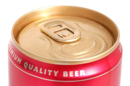 Aluminum can of beer on white background photo