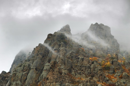View of misty fog mountains in autumn, Crimea, Ukraine Stock Photo - 9016566