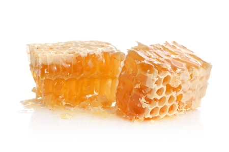 honey cell: Yellow honeycomb slice on a white background