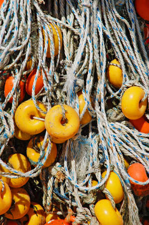 Close-up of fishing net and floats background Stock Photo - 9457409