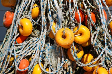 fishing net: Close-up of fishing net and floats background
