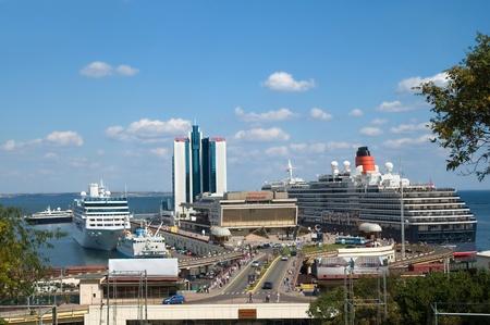 Odessa, Ukraine - September 04, 2011: Cruise ships Queen Victoria and Nautica docked in a Odessa sea port.