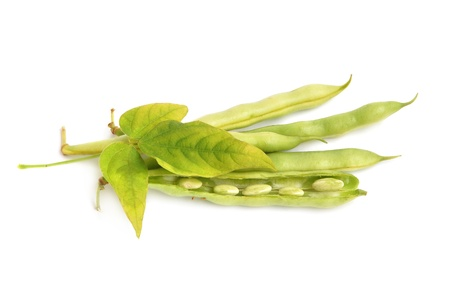 Bunch of fresh green haricot with leaf on a white background photo