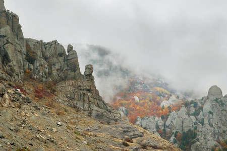 View of misty fog mountains in autumn, Crimea, Ukraine Stock Photo - 10651183